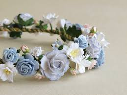 Paper Flower Headbands Flower Crown Serenity Blue Paper Flower Head Band Made Of Etsy