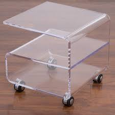 homcom transparent acrylic tea coffee table side end table trolley