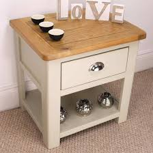 oak side table. Aspen Oak Lamp Table / Painted Sage Grey Side With 1 Drawer New