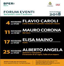 Forum Eventi Novembre 2018: Incontri con l'autore.