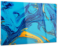soft blue abstract acrylic paint mix abstract metal wall art 28 x12 on blue abstract metal wall art with soft blue abstract acrylic paint mix abstract metal wall art