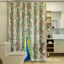 polyester waterproof washable bath curtain pea open screen printed mildew proof bathroom shower curtain 12pcs