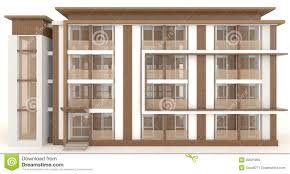 wooden office buildings. 3D Wooden Office Building Exterior In White Buildings
