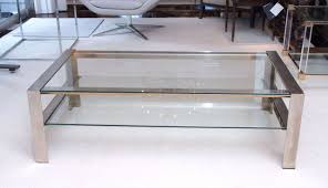handsome coffee table in brushed stainless steel at stdibs
