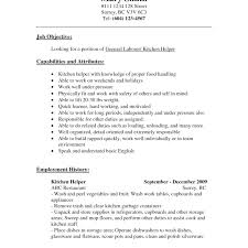 Sample Kitchen Helper Resume Resume For Cook Assistant 51
