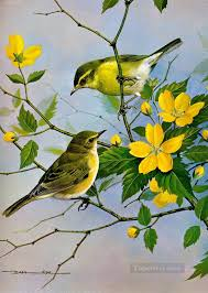 birds and yellow flowers oil paintings