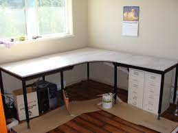 home offive design with window treatments and ikea l shaped desk also storage drawers with wood floors