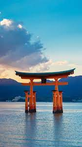 Torii Gate, sea, sunset, Japan ...