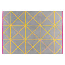 grid large grey and yellow geometric wool rug  x cm  buy