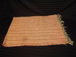 details about antique braided rag rug 75 x 24 rectangle green orange red white bronze tassle