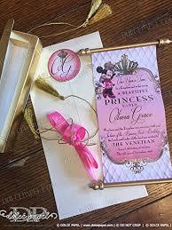Scroll Birthday Invitations Amazon Com 50 Minnie Mouse Royal Scroll Invitations Fairytale