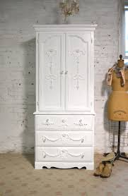 white wood wardrobe armoire shabby chic bedroom. Armoire Painted Cottage Chic Shabby French Romantic White Wood Wardrobe Bedroom