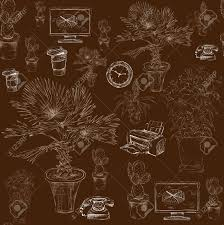 decorative office supplies. Seamless Business Office Stationery Supplies With Decorative Flowers And Palms Pattern Background Sketch Illustration Stock Vector L