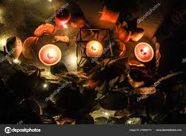 Cold Light Photography Night Helloween Composition Dried Apple Candles Warm Cold