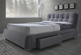 Fenbrook Grey Linen King Size Platform Bed with Storage 300523KE