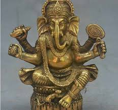 "YM 311 4"" Old Tibet <b>Buddhism Bronze</b> Ganapati <b>Ganesh</b> Lord ..."