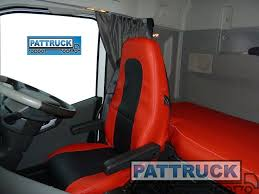 truck eco leather seat covers compatible with volvo fh4 2016 red and black