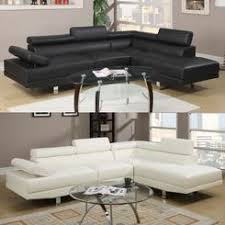 leather sectional couches. Poundex Black/Beige Faux Leather Upholstered Full-Length Sectional Sofa Set With Pillow Back Couches