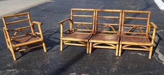 calif asia bamboo rattan sectional patio lounge chair sofa milo baughman tiki