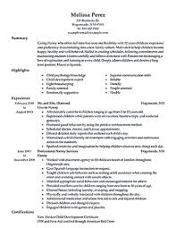 Nanny Resume Template Stunning Nanny Resume Template New Nanny Resume Examples Are Made For Those