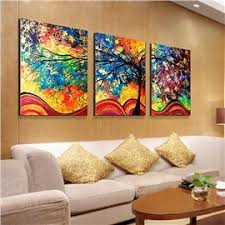 74 16 24in 3 panels colored tree oil painting hanging canvas waterproof and eco  on wall paintings artistic with contemporary modern wall art d cor online sale for any room and