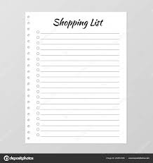 Template For Shopping List Shopping List Template Planner Page Lined Numbered Paper