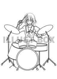 無料イラスト 女の子バンド ドラム
