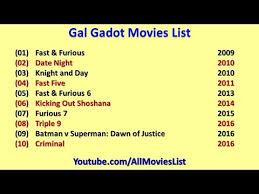 Gal Gadot Movies List - YouTube