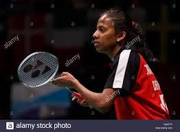 Badminton player Karina Jorgensen from Denmark Stock Photo - Alamy
