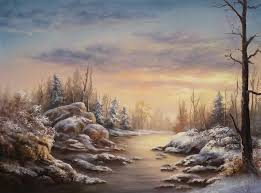 snowy sunset oil painting by kevin hill watch short oil painting lessons on you