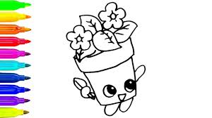 Small Picture How to Draw Cute Flower Pot Coloring Pages for Kids Colours