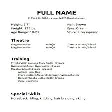 Acting Resume Beginner Acting Resume No Experience Template O