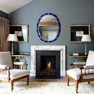 Grey Living Room With Fifties Italian Mirror