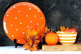 Orange And White Kitchen Modern Orange And White Polka Dot Kitchen With Large Platter