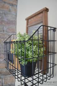 farmhouse style decorating with wire baskets
