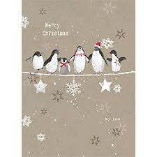 Free Holiday Photo Greeting Cards Tree Free Greetings Holiday Greeting Cards Penguin Merry Christmas Vintage Brown Recycled Paper Boxed Note Card Set 10 Pack Hb93309