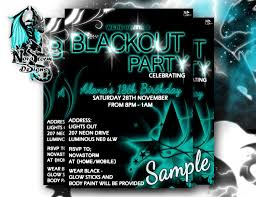 part invites awesome black light party invitation design with black background