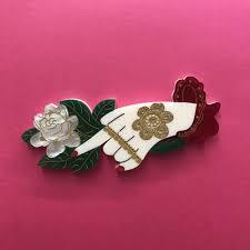 Daisy Jean Floral Designs Nakrizay Brooch Vintage Style Henna Hand 3 Skin Tones