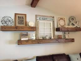 amazing rustic floating wall shelf farmhouse style and living room decor over sofa in natural