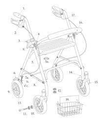 Walkers parts for drive four wheel rollator walker model 10257 walkers vw 4 wheel drive drive
