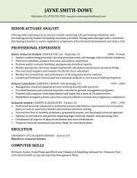 Senior Actuary Analyst Resume Sample Resume Templates