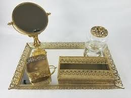 dels about vine stylebuilt mirrored gold vanity tray makeup accessories 5 pc set antique