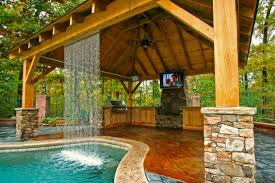 Delighful Backyard Pool And Outdoor Kitchen Designs With Astonishing The Throughout Decorating