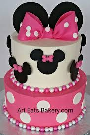 Two tier pink and white buttercream Minnie Mouse birthday cake