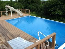 rectangle above ground pool with deck composite pool deck with slide for rectangle above ground pool