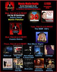 "Music Mafia Radio's tweet - ""M 8pm ET/ 5 PT - Top 30 w/Debris Debut  @mfletchermusic T 8 - MMR OG's W 8 @DebrisCozmic Th 8 -3 World Premieres  @HunterALott @chrisjonesband @saliment"
