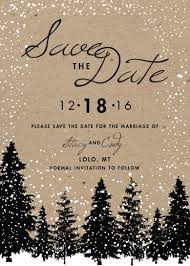 Winter Wedding Save The Date Winter Wedding Save The Date Printed Snow Woodsy Rustic Tree