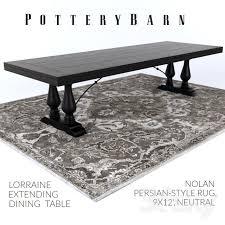 pottery barn lorraine dining table nolan persian style rug