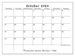 October 2020 Calendar 77ms Michel Zbinden En