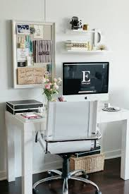 chic office nook with west elm parsons desk in polished white west elm swivel leather desk chair pottery barn pinboard pottery barn savannah lidded